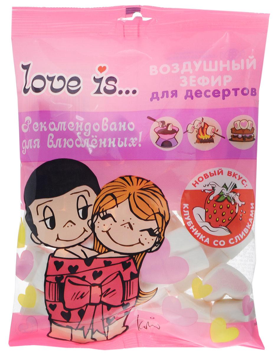 """Каждый кусочек маршмеллоу Зефирюшки """"Love is..."""" выполнен в форме главного символа любви — сердца. Оно розово-белое: розовое сердечко находится внутри белого. В розовом и белом цвете сердечек воплощен нежный вкус клубники со сливками, специально созданный для """"Love is..."""". Такой воздушный зефир — идеальный спутник любого десерта к романтическому ужину."""