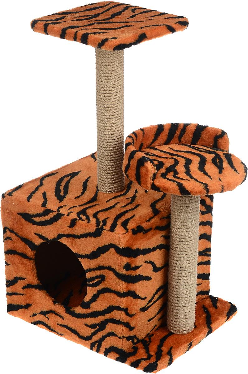 Игровой комплекс для кошек Меридиан, с домиком и когтеточкой, цвет: оранжевый, черный, бежевый, 35 х 45 х 75 смД130 ТИгровой комплекс для кошек Меридиан выполнен из высококачественного ДВП и ДСП и обтянут искусственным мехом. Изделие предназначено для кошек. Ваш домашний питомец будет с удовольствием точить когти о специальные столбики, изготовленные из джута. А отдохнуть он сможет либо на полках разной высоты, либо в расположенном внизу домике. Общий размер: 35 х 45 х 75 см. Размер домика: 46 х 37 х 33 см. Высота полок (от пола): 74 см, 45 см. Размер полок: 27 х 27 см, 26 х 26 см.
