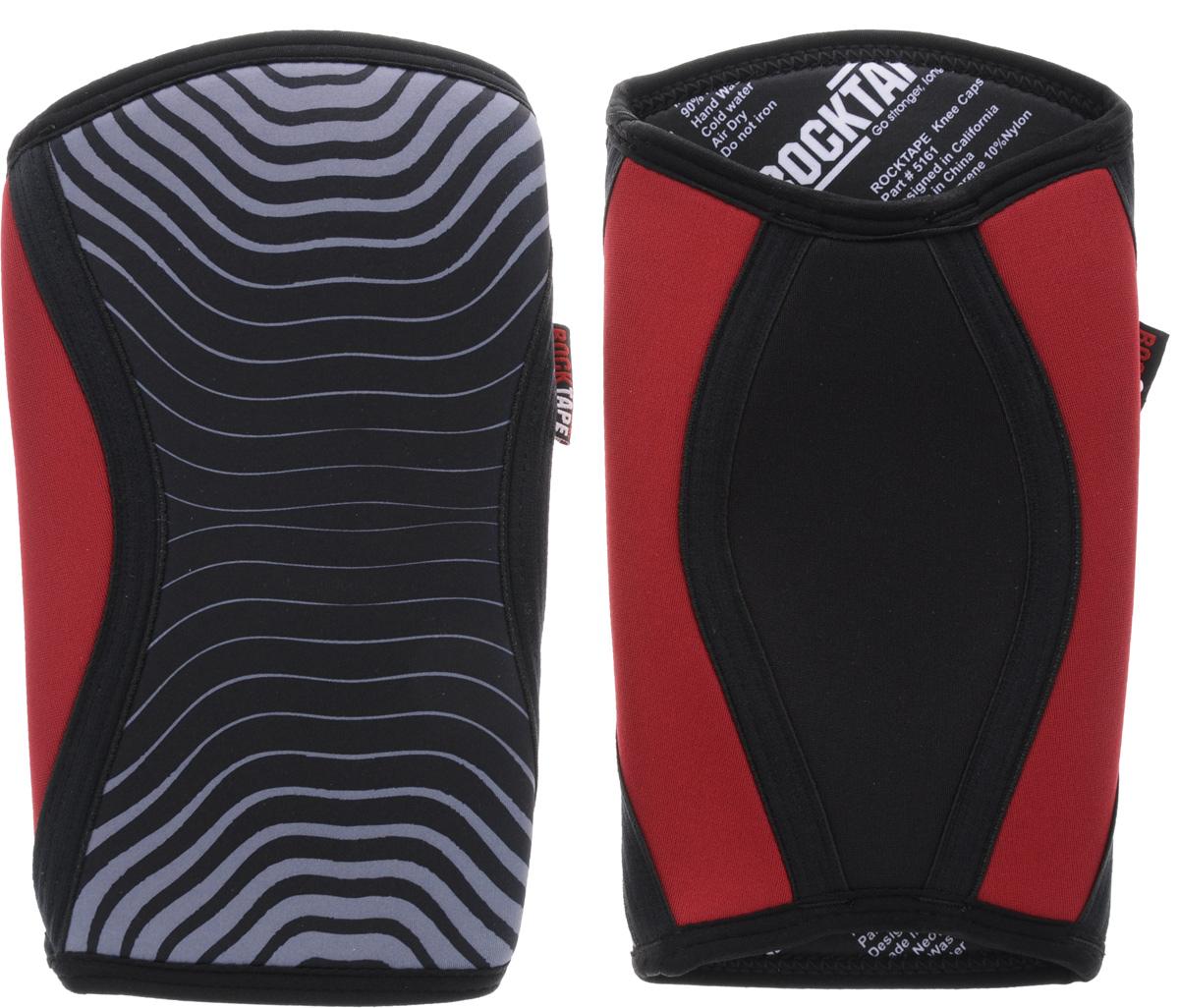Наколенники Rocktape KneeCaps, цвет: красный, серый, черный, толщина 5 мм. Размер MRTKnCps-Rd-5-MRocktape KneeCaps - это компрессионные наколенники для тяжелой атлетики/CrossFit. Наколенники созданы специально, чтобы обеспечить компрессионный и согревающий эффект, а также придать стабильность коленному суставу для выполнения функциональных движений, таких как становая тяга, пистолет, приседания со штангой. В отличие от аналогов, наколенники Rocktape KneeCaps более высокие и разработаны специально для компрессии VMO (косой медиальной широкой мышцы бедра) в месте ее прикрепления над коленной чашечкой, чтобы обеспечить надлежащую стабилизацию колена и контроль. Помимо стабилизации, они создают компрессионный и согревающий эффект, что улучшает кровоток. Толщина: 5 мм. Обхват колена: 34-37 см.