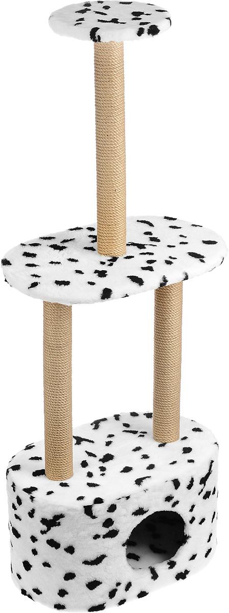 Игровой комплекс для кошек Меридиан, 3-ярусный, с домиком и когтеточкой, цвет: белый, черный, бежевый, 51 х 33 х 131 смД516 ДИгровой комплекс для кошек Меридиан выполнен из высококачественного ДВП и ДСП и обтянут искусственным мехом. Изделие предназначено для кошек. Комплекс имеет 3 яруса. Ваш домашний питомец будет с удовольствием точить когти о специальные столбики, изготовленные из джута. А отдохнуть он сможет либо на полках, либо в расположенном внизу домике. Общий размер: 51 х 33 х 131 см. Размер домика: 51 х 33 х 28 см. Размер большой полки: 51 х 33 см. Диаметр малой полки: 25 см.