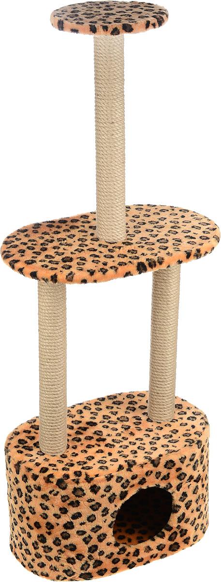 Игровой комплекс для кошек Меридиан, 3-ярусный, с домиком и когтеточкой, цвет: коричневый, черный, бежевый, 51 х 33 х 131 смД516 ЛеИгровой комплекс для кошек Меридиан выполнен из высококачественного ДВП и ДСП и обтянут искусственным мехом. Изделие предназначено для кошек. Комплекс имеет 3 яруса. Ваш домашний питомец будет с удовольствием точить когти о специальные столбики, изготовленные из джута. А отдохнуть он сможет либо на полках, либо в расположенном внизу домике. Общий размер: 51 х 33 х 131 см. Размер домика: 51 х 33 х 28 см. Размер большой полки: 51 х 33 см. Диаметр малой полки: 25 см.