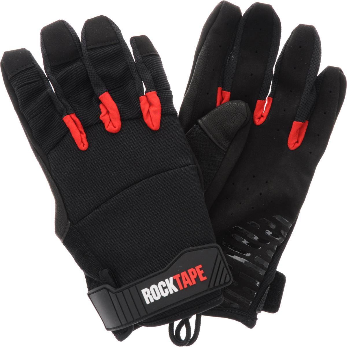 Перчатки Rocktape Talons, цвет: черный, красный. Размер MRTTls-MRocktape Talons - это функциональные перчатки для спорта. Руль велосипеда, турник, штанга - за что бы вы ни взялись, перчатки обеспечат максимальную защиту и поддержку! Уверенный хват и больше никаких стертых рук, волдырей и мозолей! Особенности перчаток: Дружелюбны к сенсорным экранам. Без швов на ладонях. Силиконовая накладка false-grip поможет в выходах силой. Защита большого пальца при захвате штанги. Впитывают пот. Дышащий материал по боковым поверхностям пальцев. Удобные петли. Рассчитаны на работу с мелом. Обхват ладони ниже костяшки: 20 см.