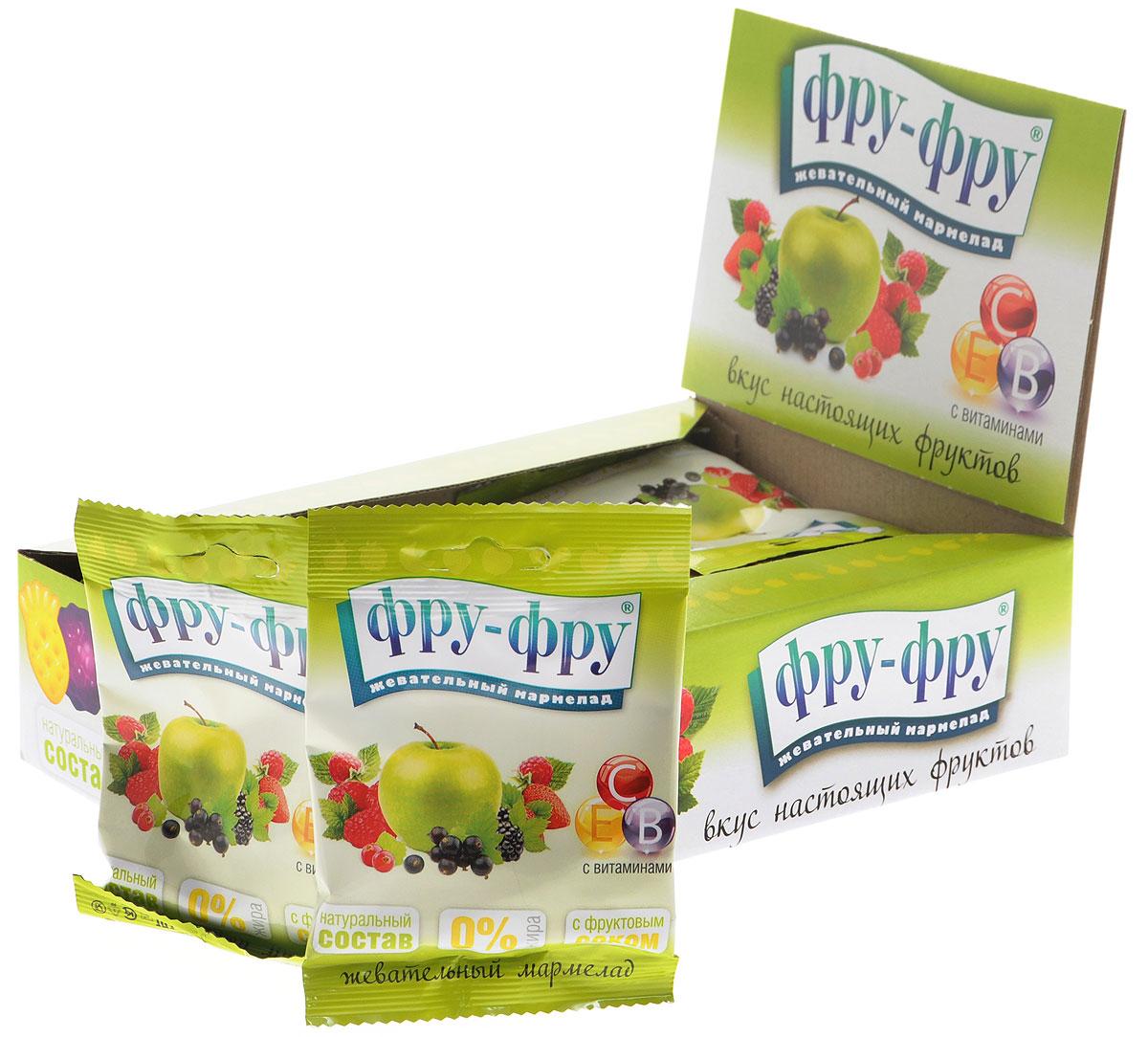 Фру-Фру Фруктовое ассорти мармелад жевательный, 720 г (24 шт)FF-3-6Жевательный мармелад Фру-Фру Фруктовое ассорти со 100% натуральным составом, изготовленный в виде разноцветных ягод и фруктов. Содержит 30% от суточной нормы витаминов В, С, Е.