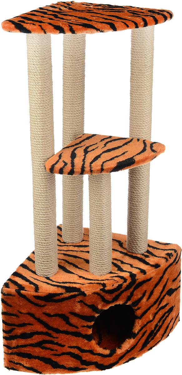 Игровой комплекс для кошек Меридиан, 3-ярусный, угловой, с домиком и когтеточкой, цвет: оранжевый, черный, бежевый, 42 х 42 х 110 смД436 ТИгровой комплекс для кошек Меридиан выполнен из высококачественного ДВП и ДСП и обтянут искусственным мехом. Изделие предназначено для кошек. Комплекс имеет 3 яруса. Ваш домашний питомец будет с удовольствием точить когти о специальные столбики, изготовленные из джута. А отдохнуть он сможет либо на полках, либо в расположенном внизу домике. Общий размер: 42 х 42 х 110 см. Размер домика: 42 х 42 х 28 см. Размер большой полки: 35 х 35 см. Размер малой полки: 26 х 26 см.