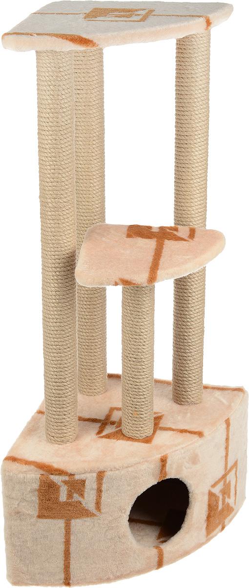 Игровой комплекс для кошек Меридиан, 3-ярусный, угловой, с домиком и когтеточкой, цвет: коричневый, бежевый, 42 х 42 х 110 смД436 ГИгровой комплекс для кошек Меридиан выполнен из высококачественного ДВП и ДСП и обтянут искусственным мехом. Изделие предназначено для кошек. Комплекс имеет 3 яруса. Ваш домашний питомец будет с удовольствием точить когти о специальные столбики, изготовленные из джута. А отдохнуть он сможет либо на полках, либо в расположенном внизу домике. Общий размер: 42 х 42 х 110 см. Размер домика: 42 х 42 х 28 см. Размер большой полки: 35 х 35 см. Размер малой полки: 26 х 26 см.