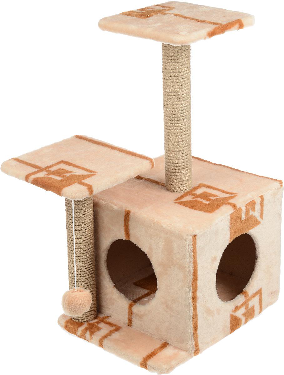Игровой комплекс для кошек Меридиан, с домиком и когтеточкой, цвет: коричневый, бежевый, 45 х 47 х 75 смД131 ГИгровой комплекс для кошек Меридиан выполнен из высококачественного ДВП и ДСП и обтянут искусственным мехом. Изделие предназначено для кошек. Ваш домашний питомец будет с удовольствием точить когти о специальный столбик, изготовленный из джута. А отдохнуть он сможет либо на полках разной высоты, либо в расположенном внизу домике. Также комплекс оснащен подвесной игрушкой, которая привлечет вашего питомца. Общий размер: 45 х 47 х 75см. Размер домика: 45 х 36 х 32 см. Высота полок (от пола): 75 см, 45 см. Размер полок: 26 х 26 см.