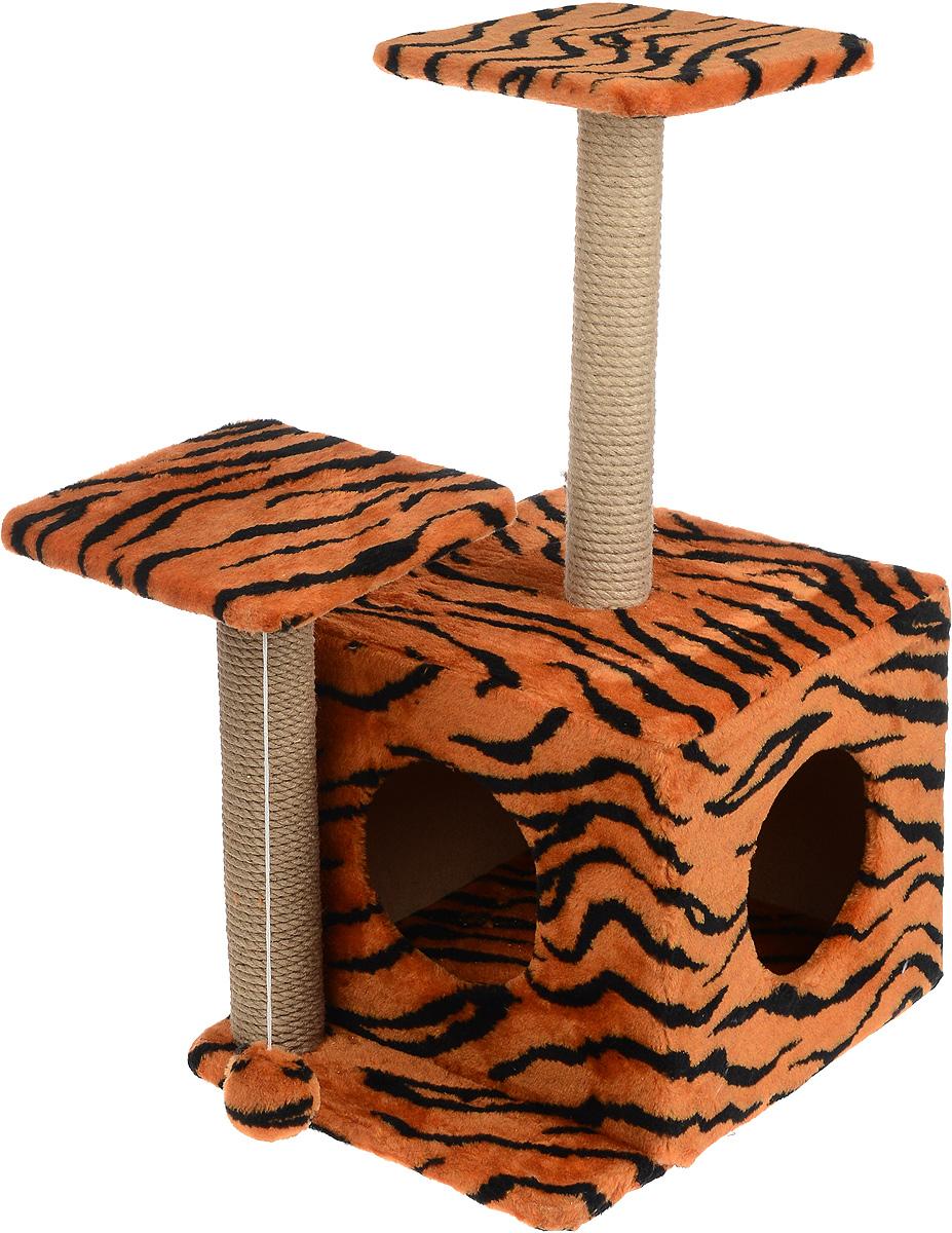 Игровой комплекс для кошек Меридиан, с домиком и когтеточкой, цвет: оранжевый, черный, бежевый, 45 х 47 х 75 смД131 ТИгровой комплекс для кошек Меридиан выполнен из высококачественного ДВП и ДСП и обтянут искусственным мехом. Изделие предназначено для кошек. Ваш домашний питомец будет с удовольствием точить когти о специальный столбик, изготовленный из джута. А отдохнуть он сможет либо на полках разной высоты, либо в расположенном внизу домике. Также комплекс оснащен подвесной игрушкой, которая привлечет вашего питомца. Общий размер: 45 х 47 х 75 см. Размер домика: 45 х 36 х 32 см. Высота полок (от пола): 75 см, 45 см. Размер полок: 26 х 26 см.