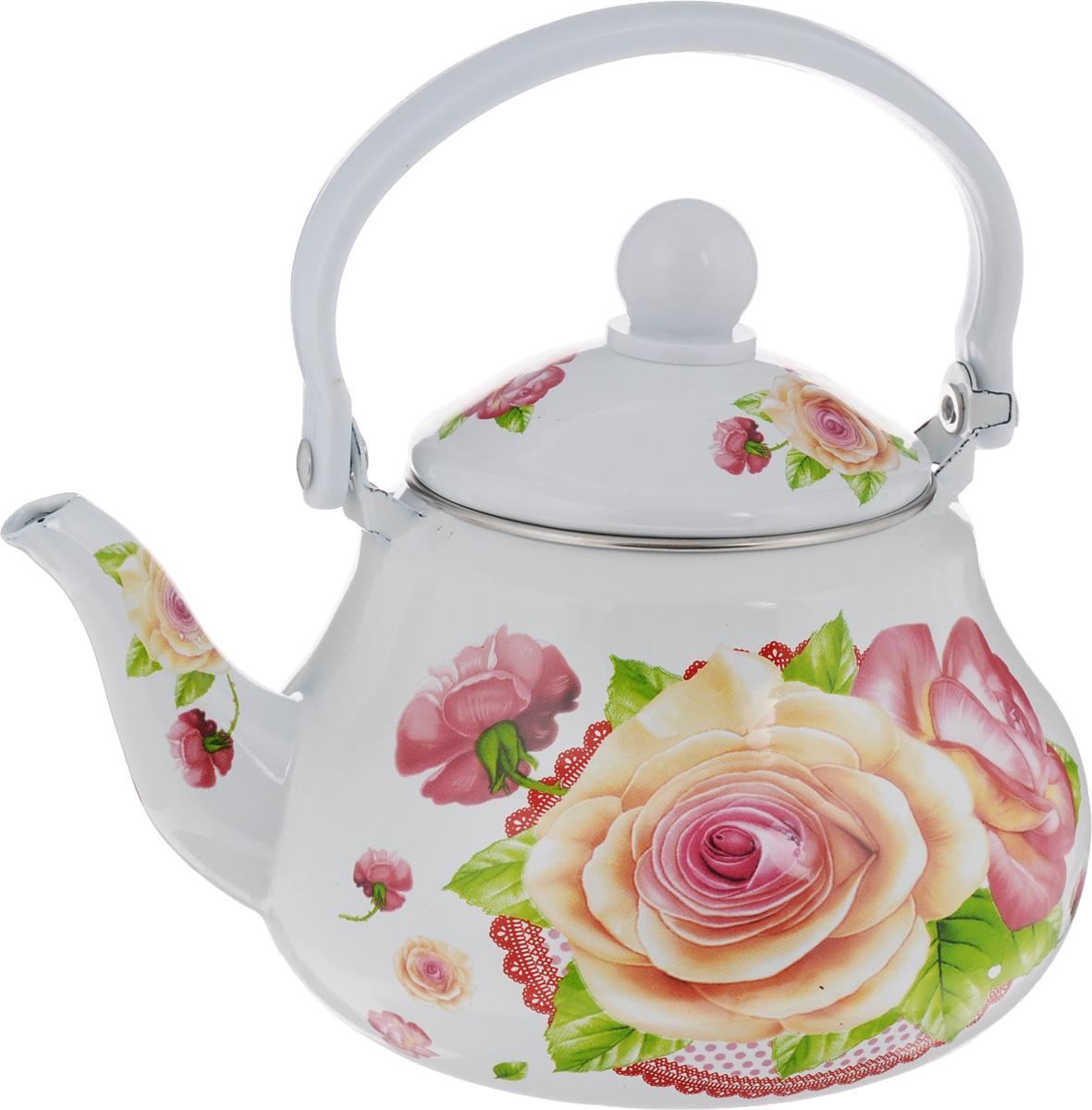 Чайник заварочный Mayer & Boch Розы, с ситечком, 1,5 л. 2398623986Чайник заварочный Mayer & Boch изготовлен из высококачественной углеродистой стали с эмалированным покрытием. Такой чайник гигиеничен и устойчив к износу при длительном использовании. Корпус чайника оформлен ярким цветочным рисунком. Чайник оснащен металлическим ситечком, который не позволит чаинкам попасть в чашку, при этом сохранит букет и насыщенность чая. Изделие подходит для всех видов плит, включая индукционные. Можно мыть в посудомоечной машине. Высота чайника (без учета ручки и крышки): 11,5 см. Высота чайника (с учетом ручки и крышки): 21 см. Диаметр индукционного дна: 9 см. Диаметр (по верхнему краю): 10 см.