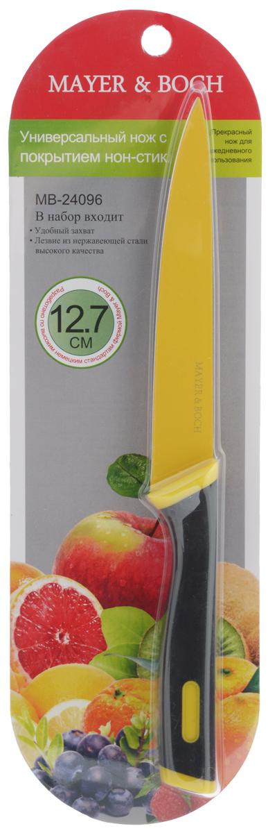 Нож универсальный Mayer & Boch, длина лезвия 12,7 см. 2409624096Универсальный нож Mayer & Boch с лезвием из высококачественной нержавеющей стали станет незаменимым помощником на вашей кухне. Изделие имеет специальное Non-Stick покрытие, предотвращающее прилипание продуктов к лезвию ножа. Сечение ножа клинообразное, что позволяет режущей кромке клинка быть продолжительное время острой. Поверхность клинка легко моется и не впитывает запахи пищи при нарезке различных продуктов. Этот универсальный нож идеально подойдет для нарезки мяса, рыбы, овощей, фруктов и других продуктов. Эргономичная рукоятка ножа с прорезиненным покрытием удобно ложится в ладонь, обеспечивая безопасную работу, комфортное положение в руке и надежный захват. Общая длина ножа: 24 см.