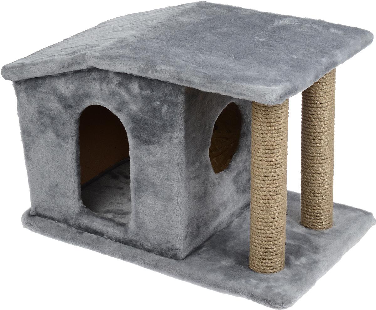 Игровой комплекс для кошек Меридиан Патриция, с домиком и когтеточкой, цвет: светло-серый, бежевый , 63 х 40 х 41 смД376 ССИгровой комплекс для кошек Меридиан Патриция выполнен из высококачественного ДВП и ДСП и обтянут искусственным мехом. Изделие предназначено для кошек. Ваш домашний питомец будет с удовольствием точить когти о специальные столбики, изготовленные из джута. А отдохнуть он сможет в оригинальном домике.