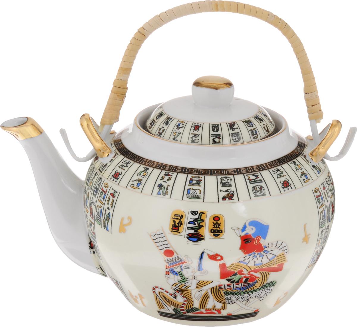 Чайник заварочный Loraine Египет, с фильтром, 1 л. 2113221132Заварочный чайник Loraine Египет изготовлен из керамики и оформлен красивым рисунком. Чайник оснащен сетчатым фильтром из металла, который задерживает чаинки и предотвращает их попадание в чашку. Заварочный чайник Loraine Египет займет достойное место на вашей кухне, а также послужит хорошим подарком для друзей и близких. Диаметр: 6 см. Диаметр основания: 9 см. Высота фильтра: 5 см. Высота чайника (без учета ручки и крышки): 11 см.