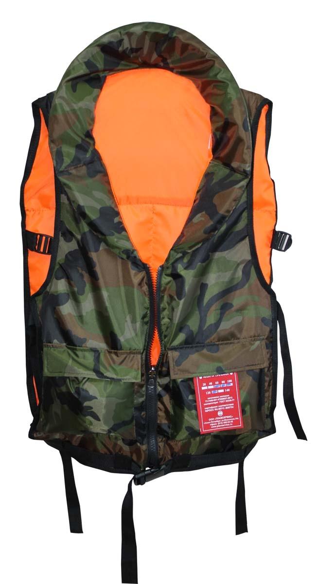 Жилет спасательный Плавсервис Pilot, двухсторонний, цвет: оранжевый, камуфляж. Размер универсальный, вес 60-120 кг