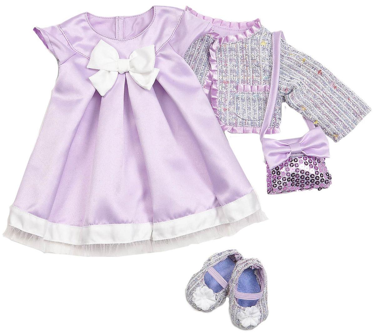 Our Generation Одежда для кукол Атласное платье жакет балетки11556Куклы тоже любят менять наряды! В набор входит великолепное сиреневое платье с белой оборкой по низу подола и белым бантиком на лифе. А если вашей куколке станет прохладно, то сверху можно накинуть стильный теплый жакет с сиреневой атласной оборкой. На ножки куколки можно надеть балетки в тон жакету. Дополнительный шик этому набору придает сиреневая сумочка, обшитая блестящими пайетками. Все девочки очень любят переодевать своих кукол, создавая новые образы, а с таким набором одежды образы можно менять хоть каждый день. Набор одежды станет прекрасным подарком, который обрадует любую девочку и сделает ее куклу самой красивой! Одежда подходит для кукол высотой 46 см.
