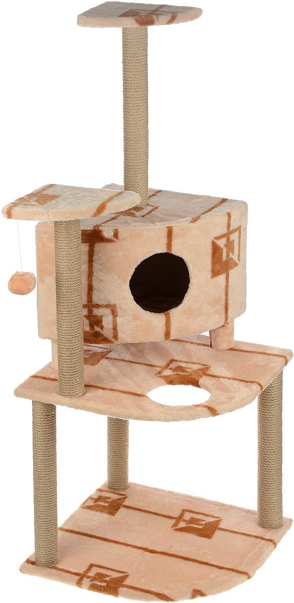 Игровой комплекс для кошек Меридиан, с домиком и когтеточкой, цвет: коричневый, бежевый, 55 х 55 х 140 смД441 ГИгровой комплекс для кошек Меридиан выполнен из высококачественного ДВП и ДСП и обтянут искусственным мехом. Изделие предназначено для кошек. Комплекс имеет 3 яруса. Ваш домашний питомец будет с удовольствием точить когти о специальные столбики, изготовленные из джута. А отдохнуть он сможет либо на полках, либо в домике. На одной из полок расположена игрушка, которая еще сильнее привлечет внимание питомца. Общий размер: 55 х 55 х 140 см. Размер домика: 42 х 42 х 31 см. Размер полок: 26 х 26 см. Размер нижнего яруса: 55 х 55 см.