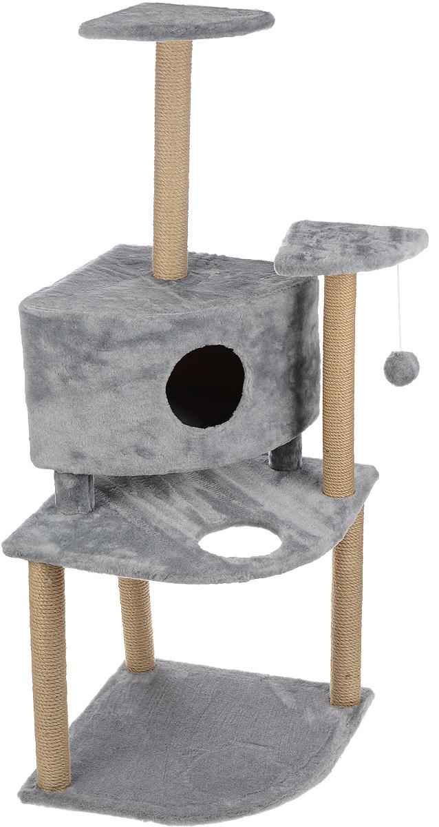 Игровой комплекс для кошек Меридиан, с домиком и когтеточкой, цвет: светло-серый, бежевый, 55 х 55 х 140 смД441 ССИгровой комплекс для кошек Меридиан выполнен из высококачественного ДВП и ДСП и обтянут искусственным мехом. Изделие предназначено для кошек. Комплекс имеет 3 яруса. Ваш домашний питомец будет с удовольствием точить когти о специальные столбики, изготовленные из джута. А отдохнуть он сможет либо на полках, либо в домике. На одной из полок расположена игрушка, которая еще сильнее привлечет внимание питомца. Общий размер: 55 х 55 х 140 см. Размер домика: 42 х 42 х 31 см. Размер полок: 26 х 26 см. Размер нижнего яруса: 55 х 55 см.