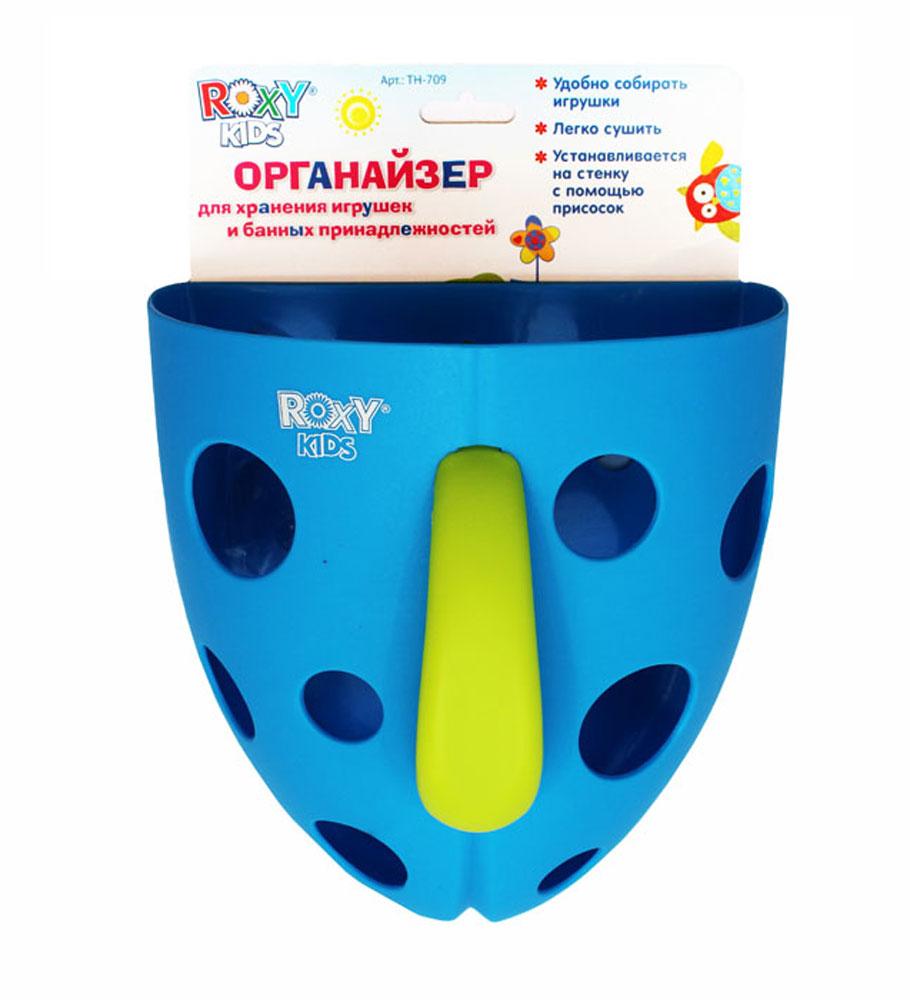 Органайзер для игрушек и банных принадлежностей Roxy-kids, цвет: синийТН-709Органайзер для игрушек и банных принадлежностей на присоске Roxy - незаменимый помощник в доме, где есть ребенок. Изготовлен для хранения игрушек и банных принадлежностей ребенка. Удобен тем, что крепится к стенкам ванной комнаты на специальную присоску или крючок, а потому будет всегда у вас под рукой. Практичная ручка органайзера позволит мамам быстро и без труда выловить из воды все игрушки. Игрушки, находящиеся в органайзере очень удобно мыть под краном, а это необходимо делать после каждого купания, поскольку на поверхности игрушек могут оказаться остатки мыла, шампуня и прочих средств детской гигиены. Благодаря органайзеру игрушки легко сушить. Яркий цвет изделия без сомнения понравится ребенку и привлечет его внимание. Органайзер стимулирует у ребенка тактильные ощущения и координацию движений.