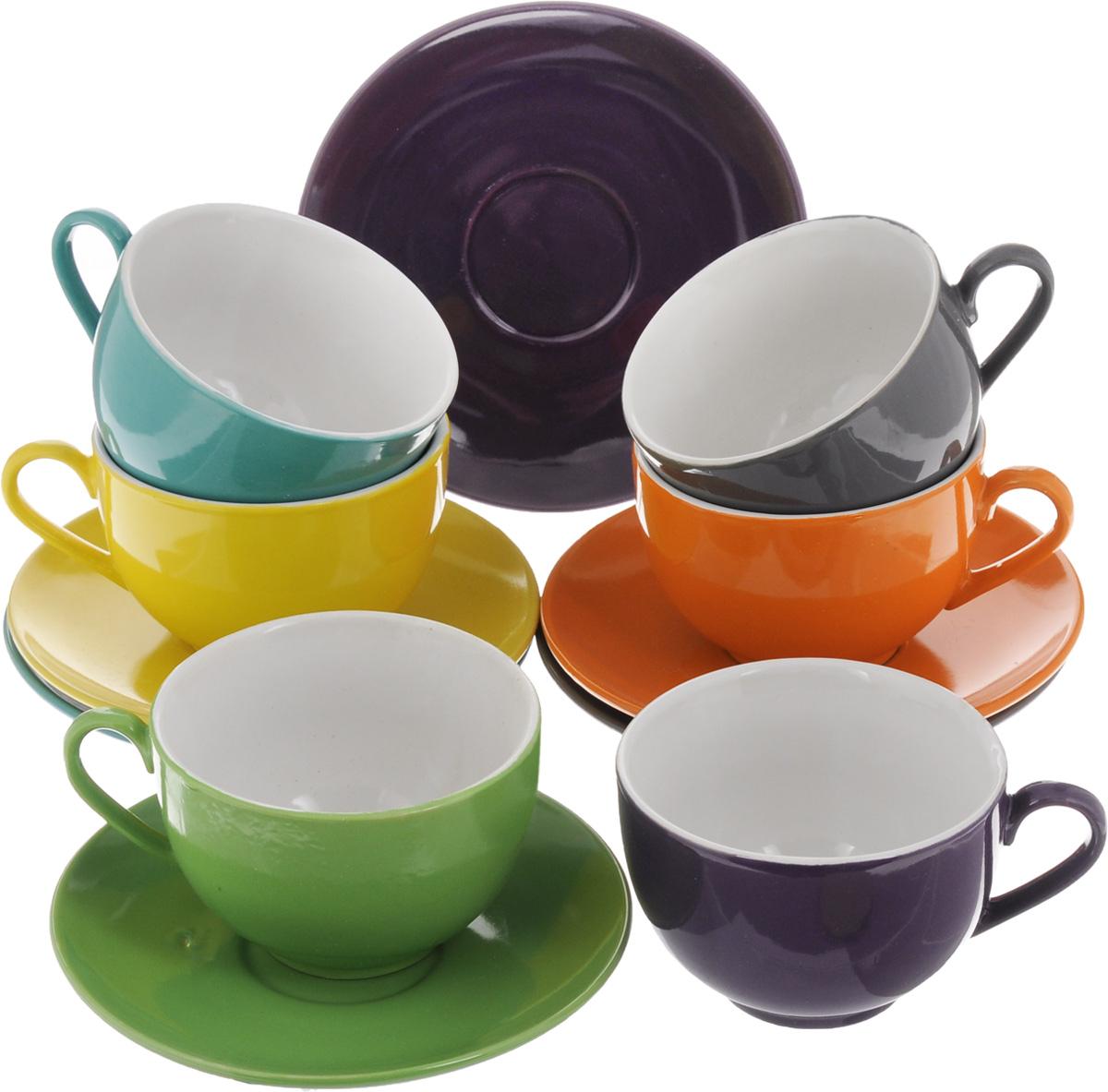 Набор чайный Loraine, 12 предметов. 2448924489Чайный набор Loraine состоит из шести чашек и шести блюдец. Изделия выполнены из высококачественной керамики. Такой набор изящно дополнит сервировку стола к чаепитию. Благодаря оригинальному дизайну и качеству исполнения, он станет замечательным подарком для ваших друзей и близких. Объем чашки: 250 мл. Диаметр чашки по верхнему краю: 9 см. Высота чашки: 6,5 см. Диаметр блюдца: 15 см. Высота блюдца: 2 см.