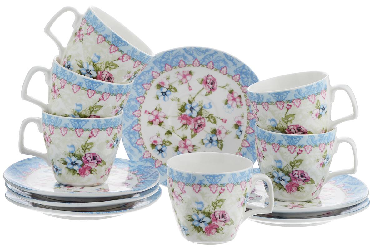 Набор кофейный Loraine Розы, 12 предметов. 2475524755Кофейный набор Loraine Розы состоит из 6 чашек и 6 блюдец, выполненных из высококачественного фарфора. Изящный цветочный дизайн придется по вкусу и ценителям классики, и тем, кто предпочитает утонченность и изысканность. Он настроит на позитивный лад и подарит хорошее настроение с самого утра. Набор упакован в стильную подарочную коробку. Внутренняя часть коробки задрапирована белой атласной тканью. Каждый предмет надежно зафиксирован внутри коробки. Чайный набор - идеальный и необходимый подарок для вашего дома и для ваших друзей в праздники, юбилеи и торжества. Объем чашки: 80 мл. Диаметр чашки (по верхнему краю): 6,5 см. Высота чашки: 5,5 см. Диаметр блюдца: 12 см.