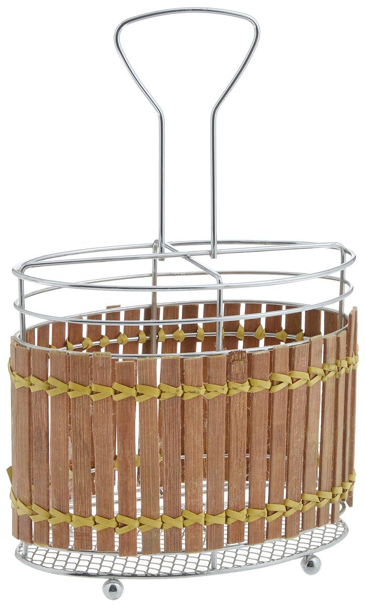 Подставка для столовых приборов Mayer & Boch, 16 х 9 х 25 см8634Подставка для столовых приборов Mayer & Boch изготовлена из металла с деревянной плетеной отделкой. Изделие имеет 4 секции для хранения различных столовых приборов. Дно подставки деревянное, с текстильными накладками для устойчивого положения. Для удобной переноски подставка снабжена ручкой. Оригинальная и стильная подставка для столовых приборов отлично дополнит интерьер кухни и поможет аккуратно хранить ваши столовые приборы.