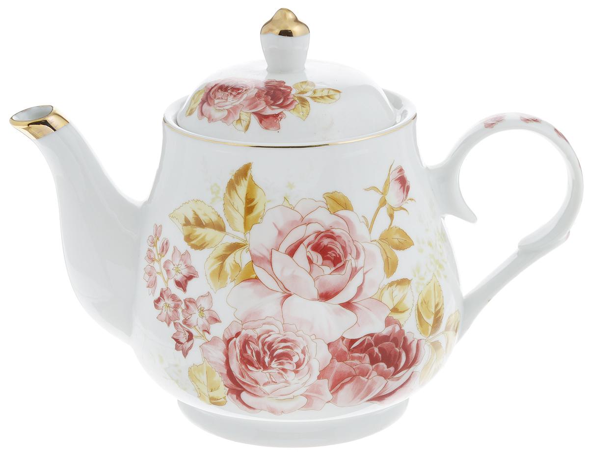Чайник заварочный Loraine, 1100 мл. 2456924569Заварочный чайник Loraine изготовлен из высококачественной керамики. Он имеет изящную форму и декорирован нежным цветочным рисунком. Чайник сочетает в себе стильный дизайн с максимальной функциональностью. Красочность оформления придется по вкусу и ценителям классики, и тем, кто предпочитает утонченность и изысканность. Чайник упакован в подарочную коробку из плотного картона. Внутренняя часть коробки задрапирована атласом, и чайник надежно крепится в определенном положении благодаря особым выемкам в коробке. Высота чайника (без учета крышки): 13 см. Высота чайника (с учетом крышки): 17 см. Диаметр (по верхнему краю): 10 см. Диаметр основания: 9,5 см.