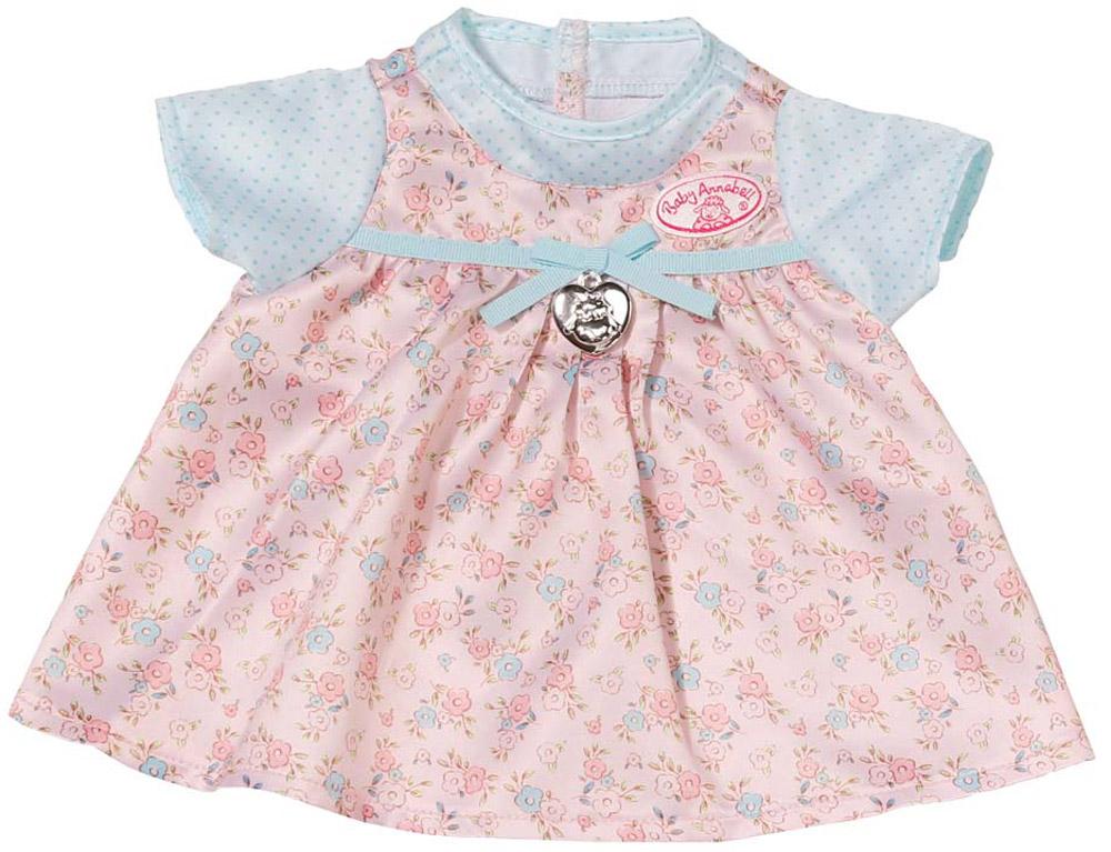 Baby Annabell Платье для куклы Annabell794-531Очаровательное платьице для куклы Бэби Аннабель - важный атрибут, который поможет ребенку комфортно и занимательно провести время. Платье выполнено в розовом цвете с голубыми рукавчиками и декорировано медальоном в форме сердечка. Выполнено изделие из прочного материала, аккуратно прошито, а значит, долго прослужит. Красиво платье для куклы Baby Annabell станет хорошим подарком для девочки, с ним игры станут еще более увлекательными. Платье подходит ко всем куклам серии Baby Annabell высотой 46 см.