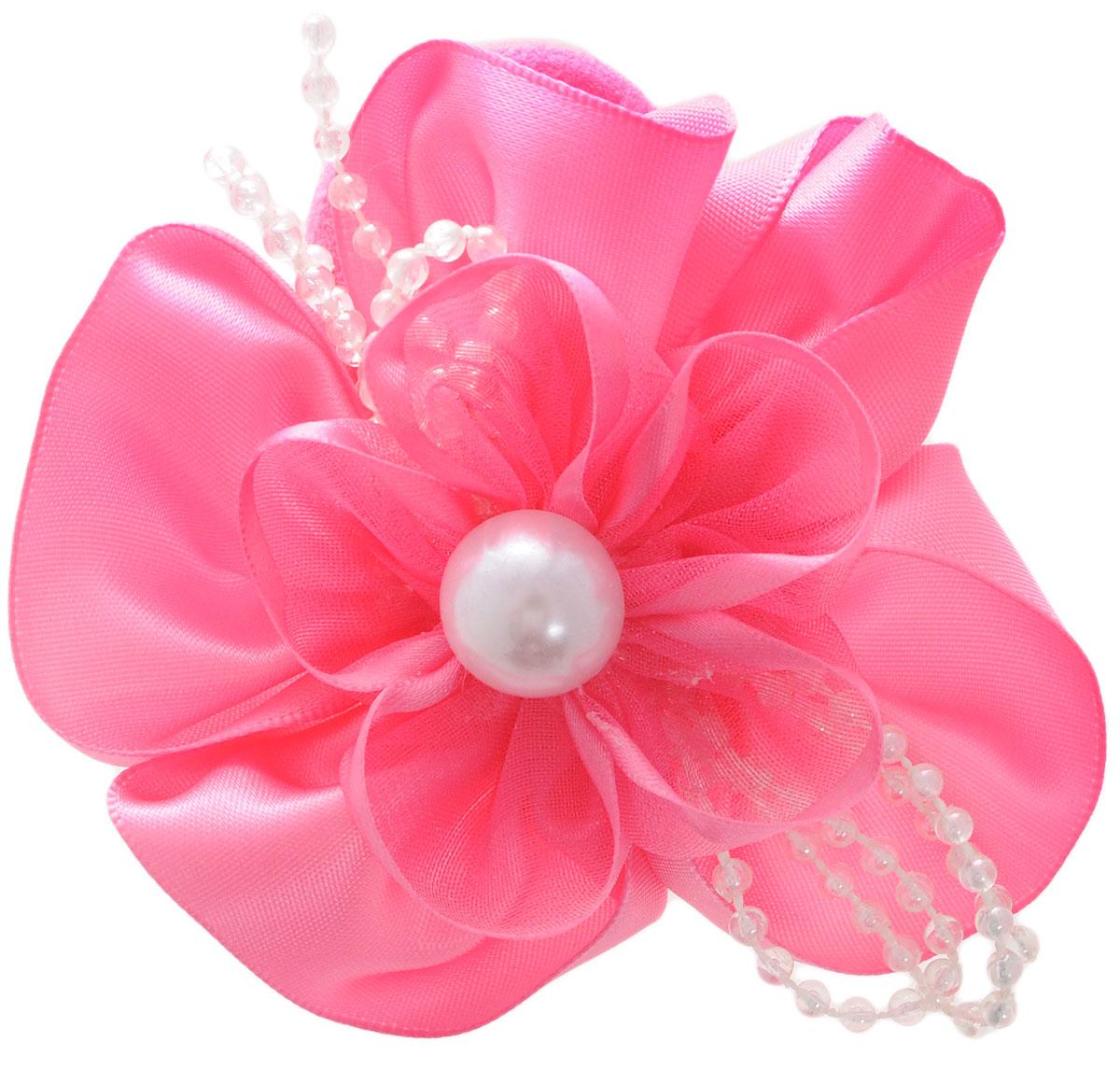 Babys Joy Резинка для волос цвет розовый MNZ 129MNZ 129_розовыйРезинка для волос Babys Joy выполнена из текстиля и декорирована бантом из атласной ленты с пластиковыми бусинками и большой бусиной в центре. Резинка позволит убрать непослушные волосы со лба и придаст образу немного романтичности и очарования.