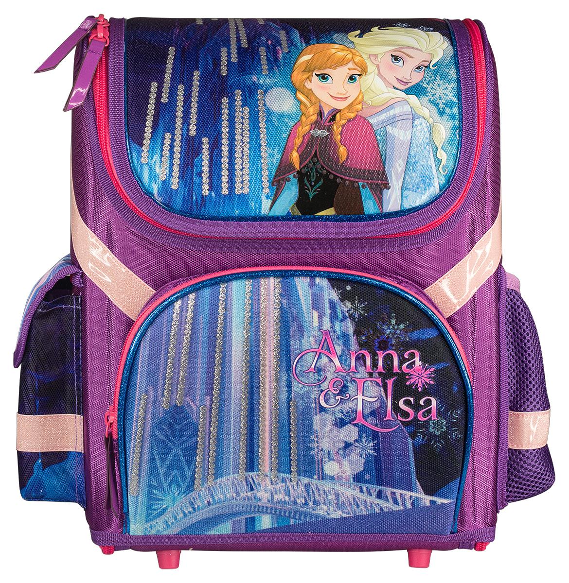 Frozen Рюкзак FrozenFZDB-UT1-116Ранец школьный, трансформер, с одним отделением на молнии, фронтальным карманом на молнии и двумя боковыми карманами; внутри отделения - два разделителя с утягивающей резинкой; корпус рюкзака, спинка, дно и крышка выполнены из EVA; лямки анатомической формы, регулируются по длине; для безопасности рюкзак снабжен светоотражающими элементами. Размер: 36 х 26 х 17 см.