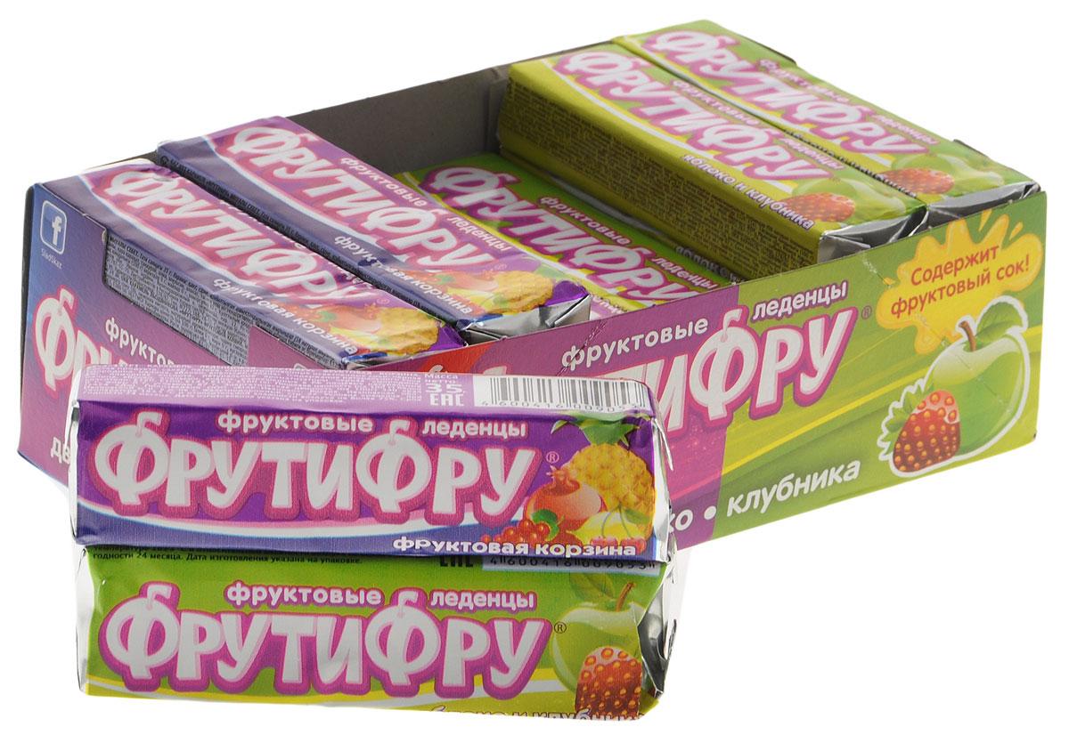 ФрутиФру Яблоко, клубника и фруктовая корзина фруктовые леденцы, 630 г (18 шт)FT-4-1Натуральные леденцы ФрутиФру с фруктово-ягодными вкусами. Благодаря удобному формату упаковки - стик - леденцы всегда просто взять с собой.