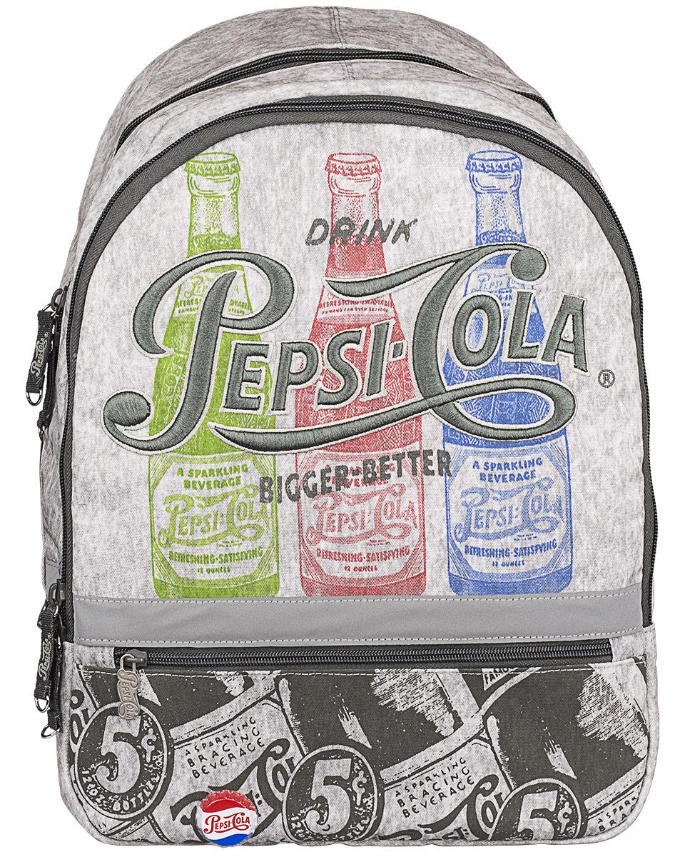 Pepsi Рюкзак Pepsi ColaPECB-UT1-392Рюкзак Pepsi Cola изготовлен из прочного материала серого цвета и оформлен рисунками бутылочек с газировкой, вышивкой и оригинальным значком в виде пробки. Рюкзак имеет два основных отделения на застежках-молниях с двумя бегунками. Первое отделение содержит накладной открытый кармашек и врезной карман на молнии. Лицевая сторона рюкзака дополнена карманом на молнии. Рюкзак оснащен петлей для подвешивания. Дно рюкзака можно сделать жестким, разложив специальную панель. Широкие регулируемые лямки и уплотненная спинка рюкзака предохранят мышцы спины ребенка от перенапряжения при длительном ношении. Светоотражающие вставки повышают безопасность ребенка на дороге. Этот рюкзак можно использовать для повседневных прогулок, учебы, отдыха и спорта, а также как элемент вашего имиджа.