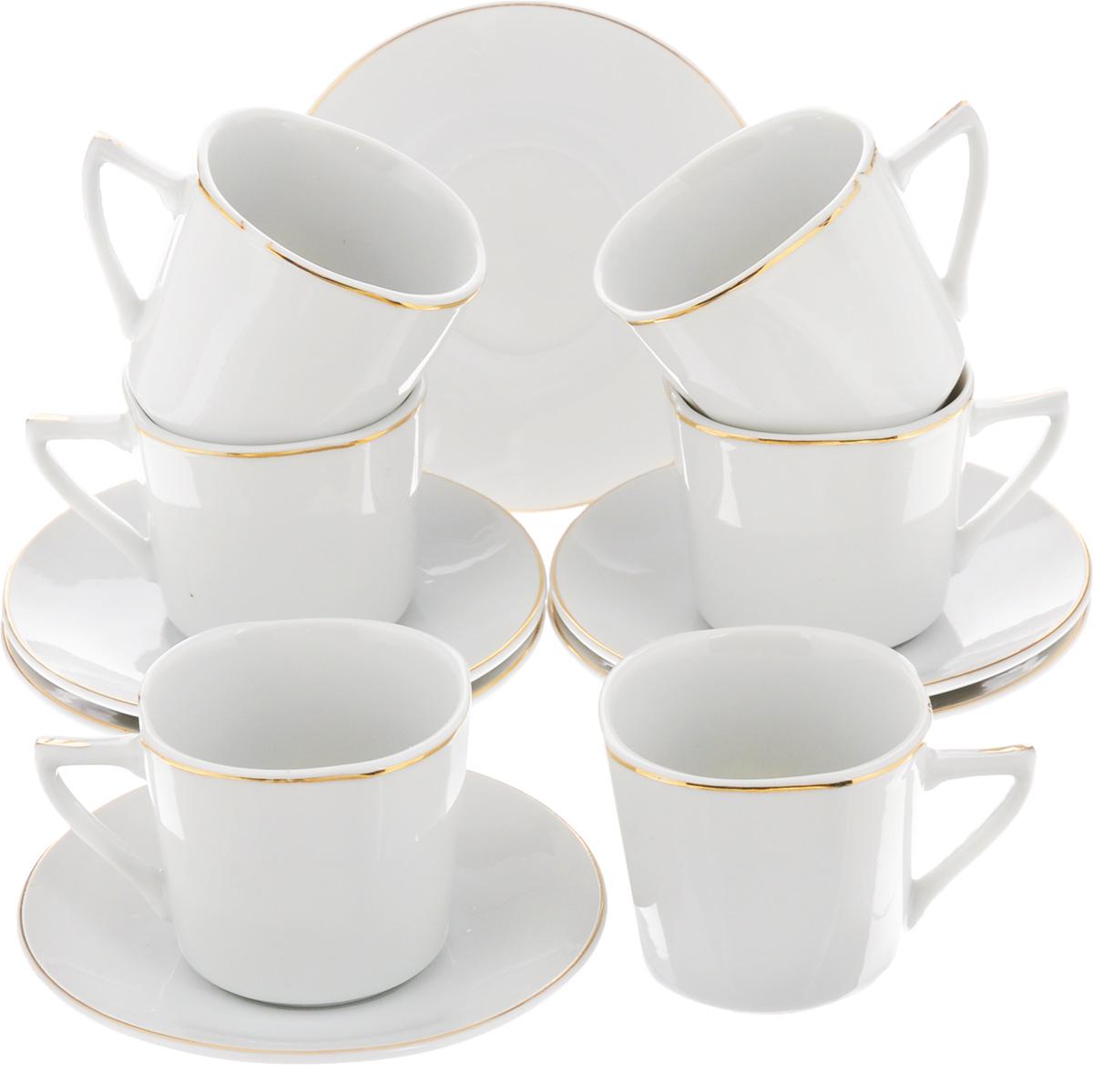 Набор кофейный Loraine, 12 предметов. 2560825608Кофейный набор Loraine состоит из 6 чашек и 6 блюдец. Изделия выполнены из высококачественного фарфора и оформлены золотистой каймой. Такой набор станет прекрасным украшением стола и порадует гостей изысканным дизайном и утонченностью. Набор упакован в подарочную коробку, задрапированную внутри белой атласной тканью. Объем чашки: 90 мл. Диаметр чашки (по верхнему краю): 6 см. Высота чашки: 5,5 см. Диаметр блюдца (по верхнему краю): 10,5 см. Высота блюдца: 2 см.