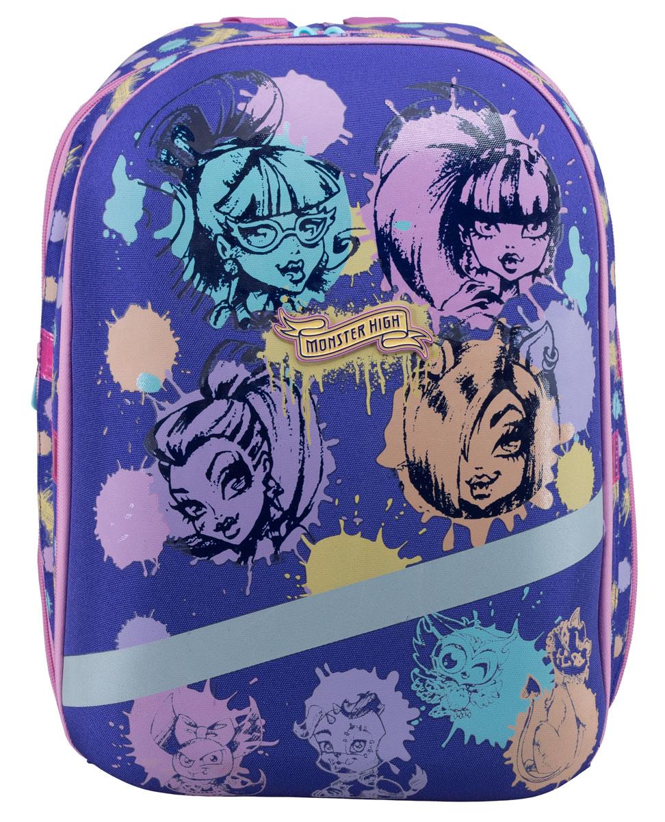 Monster High РанецMHCB-RT2-955Школьный ранец на резиновых ножках Monster High подойдет всем, кто хочет разнообразить свои школьные будни. Ранец выполнен из прочного материала и оформлен изображением героев мультфильма Школа Монстров. Ранец имеет три вместительных отделения на застежках-молниях с двумя бегунками. В наибольшем отделении расположен мягкий карман, фиксирующийся хлястиком на липучке. Во втором отделении находится один мягкий кармашек. Во третьем отделении находится открытый карман-сетка, небольшой карман-сетка на молнии, карман, закрывающийся клапаном на липучке, фиксаторы для пишущих принадлежностей и кольцо для ключей. Ранец оснащен эргономичной ручкой для удобной переноски. Особая многослойная конструкция задней стенки оснащена мягкими подкладками, принимающими анатомическую форму, что обеспечивает оптимальное прилегание к спине и равномерное распределение нагрузки, а воздухообменная сетка обеспечивает максимальный комфорт при эксплуатации. Мягкие анатомические лямки...