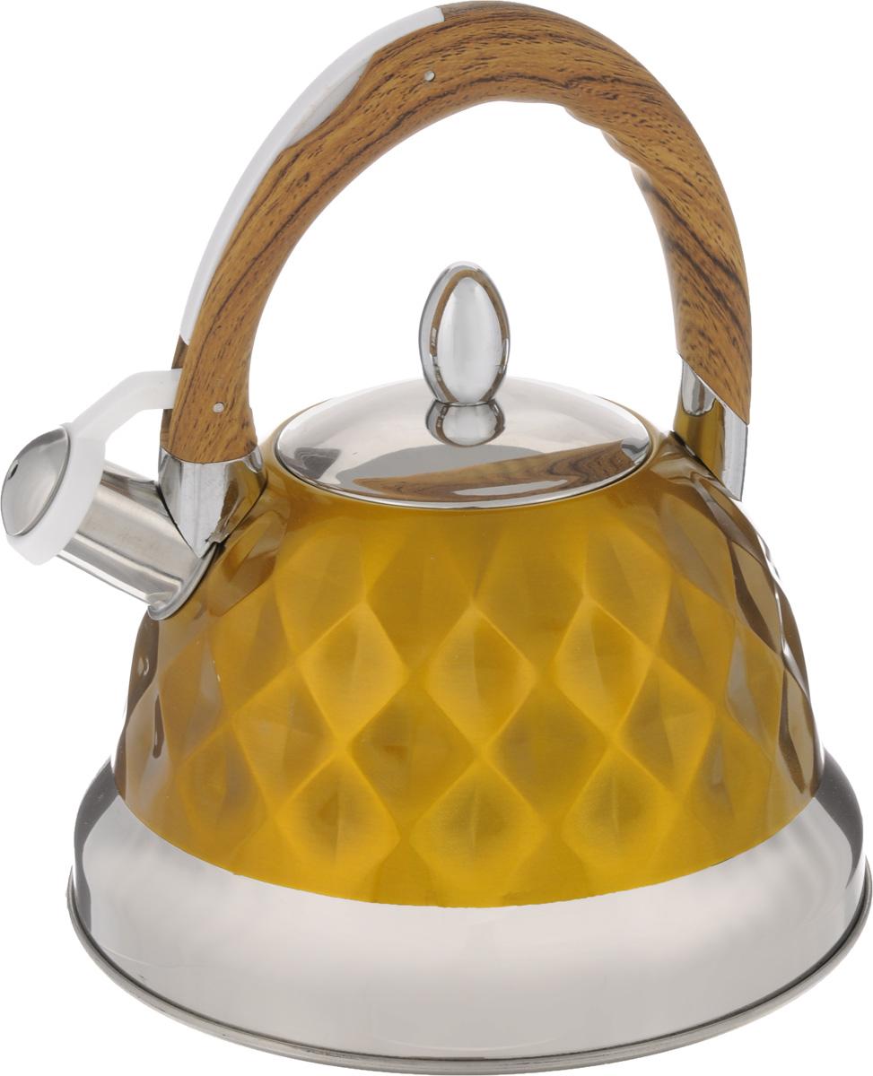 Чайник Mayer & Boch, со свистком, цвет: горчичный, 3,5 л. 2488324883Чайник Mayer & Boch изготовлен из высококачественной нержавеющей стали с зеркальной полировкой, что делает его весьма гигиеничным и устойчивым к износу при длительном использовании. Нержавеющая сталь обладает высокой устойчивостью к коррозии, не окисляется и не впитывает запахи. Особая конструкция дна способствует высокой теплопроводности и равномерному распределению тепла. Чайник оснащен фиксированной силиконовой ручкой, на которой расположена клавиша механизма открывания носика. Носик чайника имеет откидной свисток, звуковой сигнал которого подскажет, когда закипит вода. Эстетичный и функциональный чайник будет оригинально смотреться на любой кухне. Подходит для использования на газовых, электрических, стеклокерамических, галогеновых плит. Не подходит для индукционных. Можно мыть в посудомоечной машине. Диаметр (по верхнему краю): 10 см. Высота (без учета ручки и крышки): 13 см. Высота (с учетом ручки):...