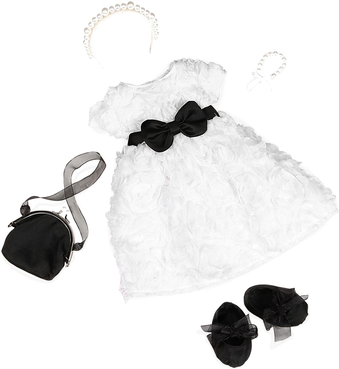 Our Generation Одежда для кукол Платье с розочками балетки сумочка11557Куклы тоже любят менять наряды! В наборе имеется шикарное белое платье с кружевными розочками и черным поясом. На ножки куколки можно надеть черные балетки с пышными бантиками, которые дополняет стильная черная сумочка. А неотразимым этот набор станет благодаря аксессуарам - белому ободку и браслету на ленте. Аксессуары выполнены из круглых пластиковых бусин под жемчуг. Все девочки очень любят переодевать своих кукол, создавая новые образы, а с таким набором одежды образы можно менять хоть каждый день. Набор одежды станет прекрасным подарком, который обрадует любую девочку и сделает ее куклу самой красивой! Одежда подходит для кукол высотой 46 см.