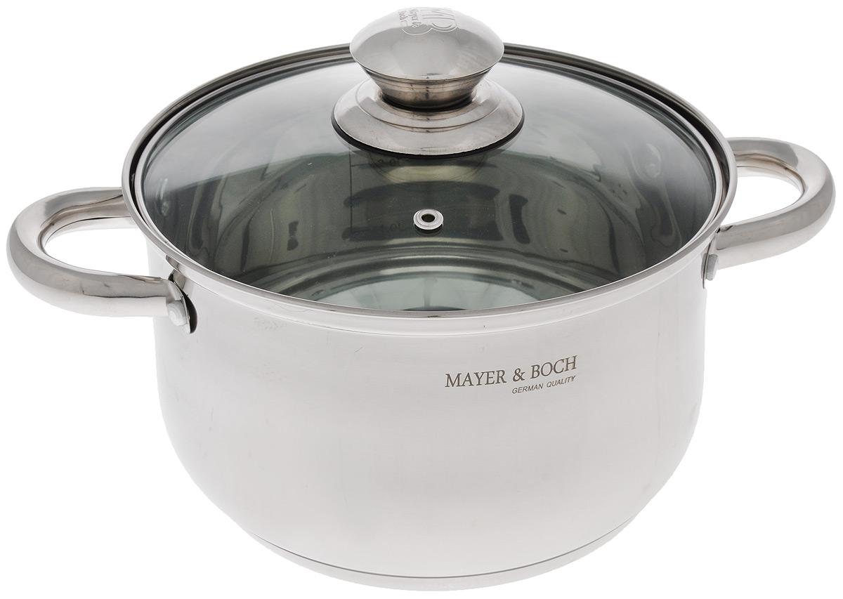 Кастрюля Mayer & Boch с крышкой, 3,9 л21433Кастрюля Mayer & Boch изготовлена из высококачественной нержавеющей стали с зеркальной полировкой. Многослойное капсулированное дно аккумулирует тепло, способствует быстрому закипанию и приготовлению пищи даже при небольшой мощности конфорок. Кастрюля оснащена удобными ручками из нержавеющей стали. Ручка прикреплена к корпусу на клепки, что обеспечивает прочность, надежность и минимальный нагрев ручки. Крышка, выполненная из термостойкого стекла, позволит вам следить за процессом приготовления пищи. Крышка оснащена металлическим ободом и отверстием для выпуска пара. Кастрюля идеальна для приготовления здоровой пищи с минимальным количеством жира, что обеспечивает снижение потери полезных витаминов, минеральных веществ и сохраняет аромат приготовляемых блюд. Кастрюля очень удобна в использовании, практична и элегантна, ее легко чистить и мыть. Подходит для всех типов плит, включая индукционные. Можно мыть в посудомоечной машине. Диаметр...
