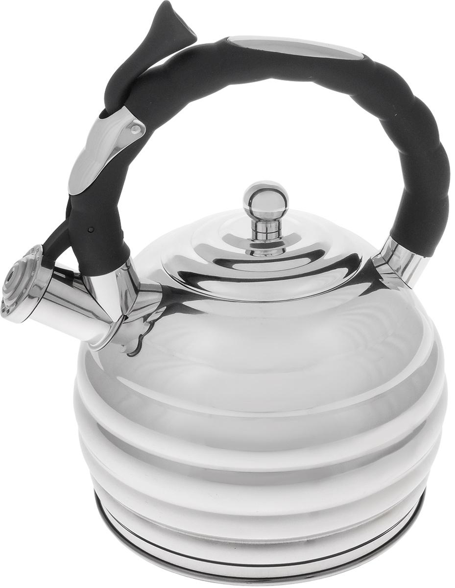 Чайник Mayer & Boch, со свистком, 3 л. 2496924969Чайник Mayer & Boch выполнен из высококачественной нержавеющей стали, что обеспечивает долговечность использования. Фиксированная ручка снабжена механизмом для открывания носика, что делает использование чайника очень удобным и безопасным. Носик чайника оснащен свистком, что позволит вам контролировать процесс подогрева или кипячения воды.Эстетичный и функциональный, с эксклюзивным дизайном, чайник будет оригинально смотреться в любом интерьере. Подходит для всех типов плит, включая индукционные. Можно мыть в посудомоечной машине. Диаметр чайника (по верхнему краю): 10 см. Диаметр основания: 17,5 см. Высота чайника (с учетом крышки и ручки): 30 см. Диаметр индукционного диска: 13,5 см.