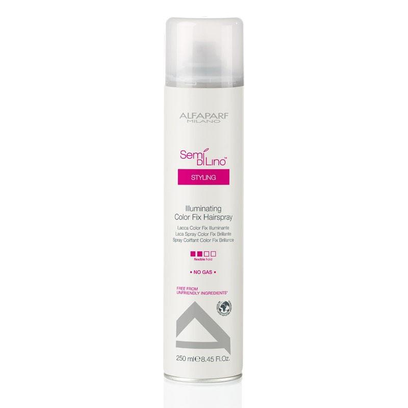 Alfaparf Лак для стойкости цвета, придающий блеск Semi Di Lino Illuminating Color Fix Hair Spray 250 мл72Alfaparf Semi DiLino Illuminating Color Fix Hair Spray Лак для стойкости цвета, придающий блеск создан специально для окрашенных волос, позволяя надёжно защитить волосы от потери цвета и дополнительно обеспечиваю им защиту от воздействия окружающей среды. Данное средство обеспечивает прекрасную защиту волоса, не утяжеляя и не повреждая его. Благодаря экстракту семени льна, который содержится в составе лака для стойкости цвета волос Альфапарф SDL Illuminating Color Fix Hairspray волосы становятся гладкими и ослепительно блестящими. Alfaparf Semi Di Lino Illuminating Hair Spray подходит для всех типов окрашенных волос и не содержит парафинов, сульфатов, аллергенов и минеральных масел. Степень фиксации: средняя фиксация.