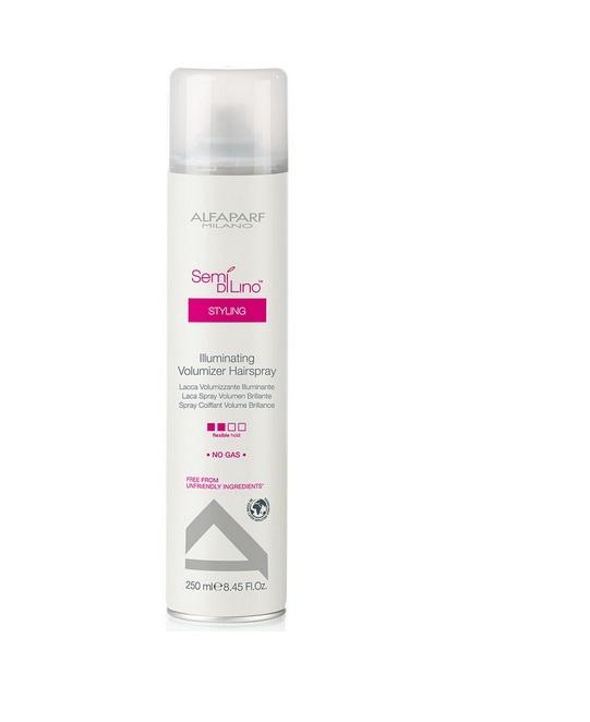Alfaparf Лак для создания объема, придающий блеск Semi Di Lino Illuminating Volumizer Hair Spray 250 мл73Alfaparf Semi DiLino Illuminating Volumizer Hair Spray Лак для создания объёма, придающий блеск разработан специально для создания впечатляющей объёмной причёски с эффектом блеска. Лак содержит микрокристаллы, которые не только делают волосы блестящими, сохраняя их цвет, но и способствуют созданию надёжной защиты причёски от всех негативных влияний окружающей среды. Специальные компоненты, входящие в состав лака Альфапарф SDL Illuminating Volumizer придают волосам удивительный блеск, делая их красивым и привлекательными, а также мягкими, облегчая процесс расчёсывания. Данное средство не содержит в составе таких вредных веществ, как парафины, сульфаты, аллергены и минеральных масел. Альфапарф Semi Di Lino Illuminating Volumizer Hair Spray подходит для всех типов волос. Степень фиксации: средняя фиксация.