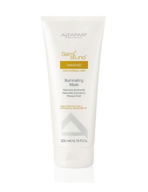 Alfaparf Маска для нормальных волос, придающая блеск Semi Di Lino Diamond Illuminating Mask 200 мл9996Alfaparf Semi DiLino Diamond Illuminating MaskМаска для нормальных волос, придающая блеск предназначена для поддержания здоровья волос на новом уровне. Данный продукт способствует эффективному оживлению волос, придаёт волосам блеск, усиливает и защищает его интенсивность, обеспечивает нормализацию витаминного баланса. В состав маски для нормальных волос Alfaparf Milano входит экстракт семени льна и специальный комплекс защиты цвета, которые препятствуют выгоранию и вымиранию волос. А такие витамины, как A, E и F обладают антиоксидантными свойствами, что благоприятно влияет на здоровье волос. Уже после первого применения маски Альфапарф Диамонд волосы станут намного более крепкими и устойчивыми к вредному влиянию внешних факторов.