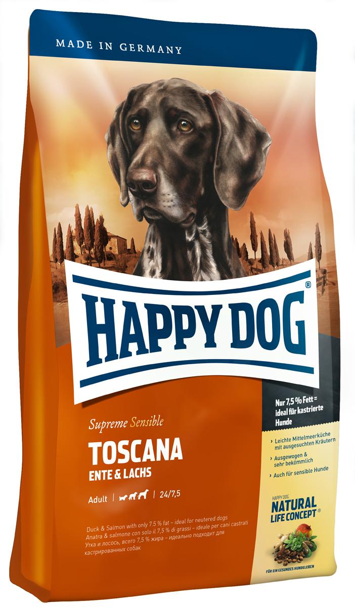 Корм сухой Happy Dog Тоскана для собак средних и крупных пород, с уткой и лососем, 4 кг03541Корм Happy Dog Тоскана оптимально подходит для чувствительных собак. С давних пор классические ингредиенты легкой средиземноморской кухни обеспечивают природную защиту от болезней, обусловленных современной цивилизацией. При этом следует особо упомянуть ароматные средиземноморские травы, мясо утки, лосося и полифенолы красного винограда. Только корм Happy Dog Тоскана содержит этот уникальный набор полезных ингредиентов. Благодаря специальным ингредиентам и особому способу приготовления корм очень хорошо подходит для целенаправленного кормления чувствительных собак с их особыми потребностями. Корм содержит умеренное количество жира (7,5 %) и 24 % белка - источника жизненной энергии, а потому может использоваться и для кастрированных кобелей и стерилизованных сук. Состав: Утка (21%), кукурузная мука, кукуруза, рисовая мука, лосось (5%), гидролизат печени, свекольная пульпа, птичий жир, масло из семян подсолнечника, яблочная пульпа...