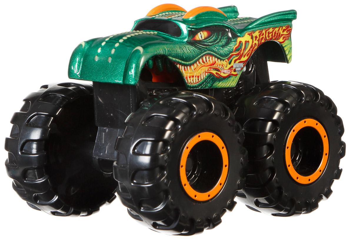 Hot Wheels Monster Jam Машинка Dragon цвет зеленый оранжевыйCFY42_CFY48Машинка Hot Wheels Monster Jam. Dragon - знаменитая модель легендарного автомобиля с большими колесами. Литой корпус, сверкающая кабина и неповторимый тюнинг - то, что выделяет эту модель среди других. Ваш ребенок будет в восторге от такого подарка!