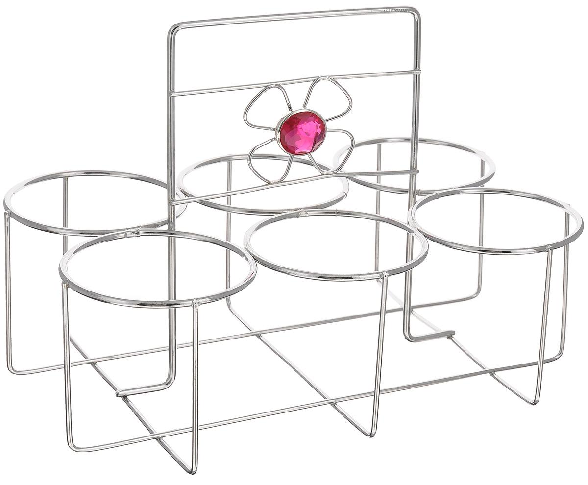Подставка для стаканов Mayer & Boch20092Подставка для стаканов Mayer & Boch сделана из нержавеющей стали с хромированным покрытием и украшена декоративным элементом в виде цветка. Данное изделие позволит компактно разместить столовую посуду, тем самым сэкономить рабочее пространство. Изделие предназначено для размещения одновременно 6 стаканов диаметром до 7 см. Благодаря стильному дизайну, она впишется в интерьер любой кухни.