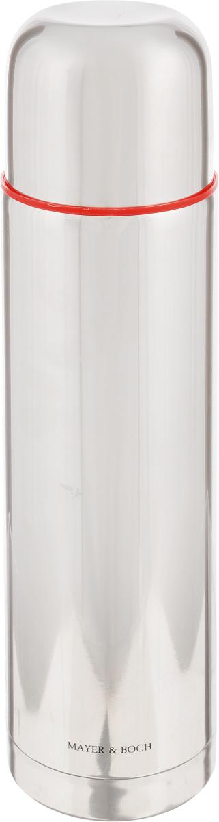 Термос Mayer & Boch, 750 мл21484Термос Mayer & Boch с двойными стенками из нержавеющей стали сохраняет температуру на длительный срок. Вакуумный закручивающийся клапан предохраняет от проливаний, а удобная кнопка-дозатор избавит от необходимости каждый раз откручивать крышку, что экономит вашу энергию и надолго сохраняет температуру. Крышку можно использовать как чашку. Стильный металлический корпус подойдет абсолютно всем и впишется в любой интерьер кухни. Термос Mayer & Boch идеально подходит для сохранения напитка горячим и холодным в течении 12 часов. Объем: 750 мл. Высота термоса: 29 см.