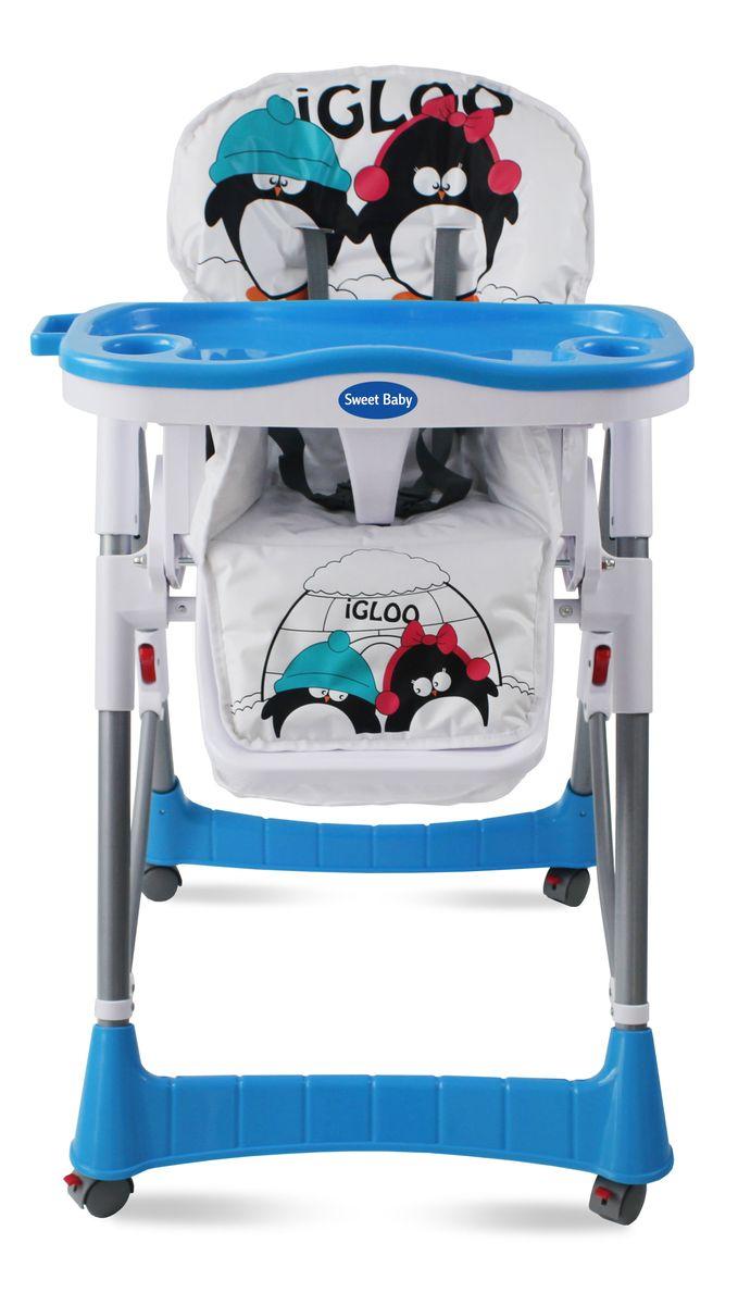 Sweet Baby Стульчик для кормления Couple Aqua286 694Для детей с 6 месяцев до 3 лет Стульчик изготовлен из высококачественного материала - безопасного пластика Регулируемый 5-точечный ремень безопасности Легко снимающийся поднос 3 позиции установки подноса Возможность мойки подноса в посудомоечной машине 3 позиции спинки Возможность регулирования сиденья на наиболее удобную высоту 5 уровней высоты 2 углубления для стаканов Кресло оснащено 4-мя легко маневрируемыми колёсиками с тормозами В сложенном состоянии стульчик занимает минимум места Необходимые мелочи и любимые игрушки малыша можно держать под рукой в удобной корзинке Анатомическая вставка для разделения ног