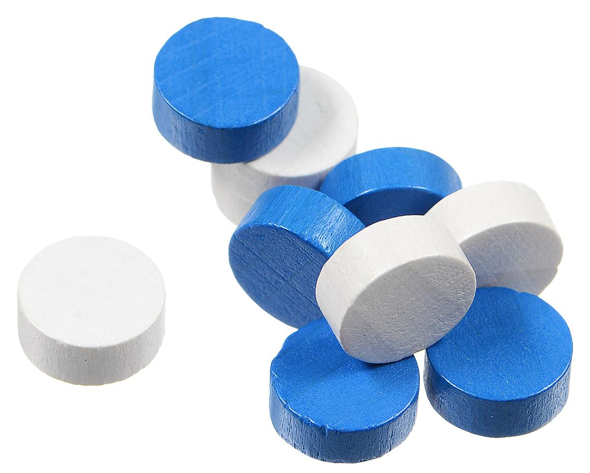 Pandoras Box Набор фишек Эко-стиль диаметр 10 мм цвет белый синий 10 шт06LZ020_белый, сиинйНабор фишек Эко-стиль предназначены для настольных игр. Фишки можно использовать для отметки уровня ресурсов жизни, победных очков при игре в настольные игры. В наборе имеются фишки двух разных цветов. Фишки выполнены из натурального дерева и покрыты яркой краской. Набор содержит 10 фишек диаметром 1 см.