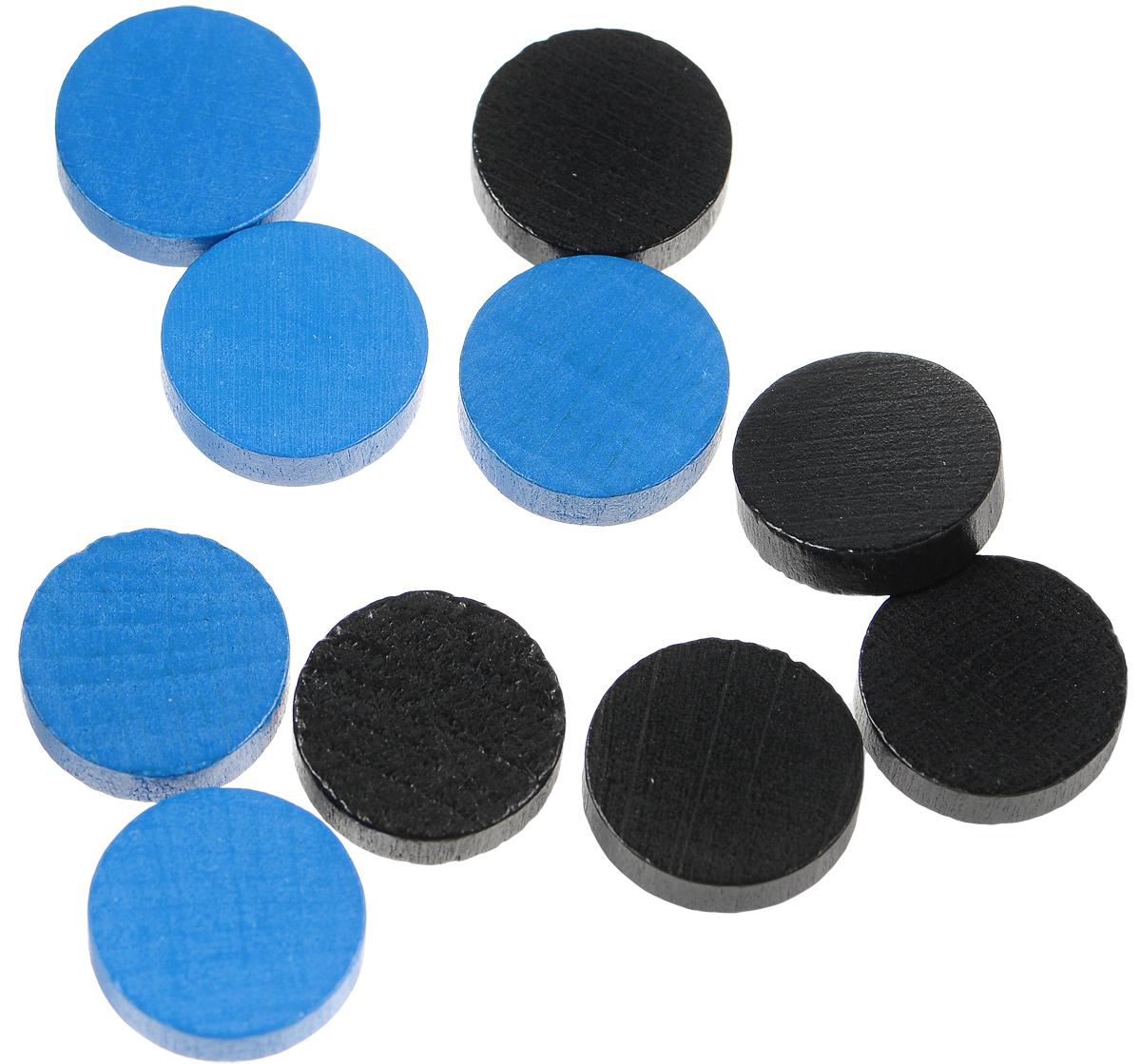 Pandoras Box Набор фишек Эко-стиль диаметр 15 мм цвет синий черный 10 шт06LZ021_синий, черныйНабор фишек Эко-стиль предназначены для настольных игр. Фишки можно использовать для отметки уровня ресурсов жизни, победных очков при игре в настольные игры. В наборе имеются фишки двух разных цветов. Фишки выполнены из натурального дерева и покрыты яркой краской. Набор содержит 10 фишек диаметром 1,5 см.