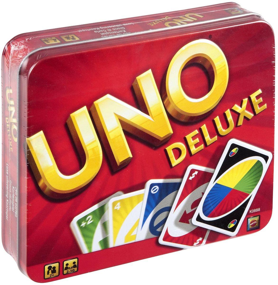 Mattel Games Настольная игра Uno DeluxeK0888Все любят карточную игру Uno - дети, подростки и взрослые! Легко начать игру, и просто невозможно остановить ее, так она захватывает! Отличный способ провести приятный вечер вместе с семьей. В колоде Uno есть карты Пропусти ход, Наоборот, Возьми две, Закажи цвет, Закажи цвет и возьми четыре. И когда у тебя останется одна карта, не забудь прокричать: Уно! В набор входит колода карт Uno, коробочка для карт с двумя отделениями, таблица результатов и инструкция.