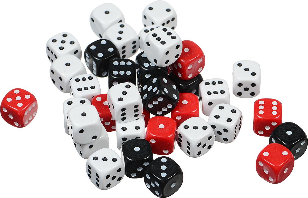 Koplow Games Набор костей игральных Простые D6 цвет черный белый красный 36 шт1826_черный, белый, красныйНабор игральных костей Koplow Games Простые D6 предназначен для настольных игр. Набор состоит из 36 шестигранных костей. На каждую сторону игральной кости нанесены в виде точек числа от 1 до 6. Целью броска игральной кости является демонстрация случайно определенного числа, каждое из которых является равновозможным благодаря правильной геометрической форме. Игральные кости выполнены из прочного безопасного пластика.