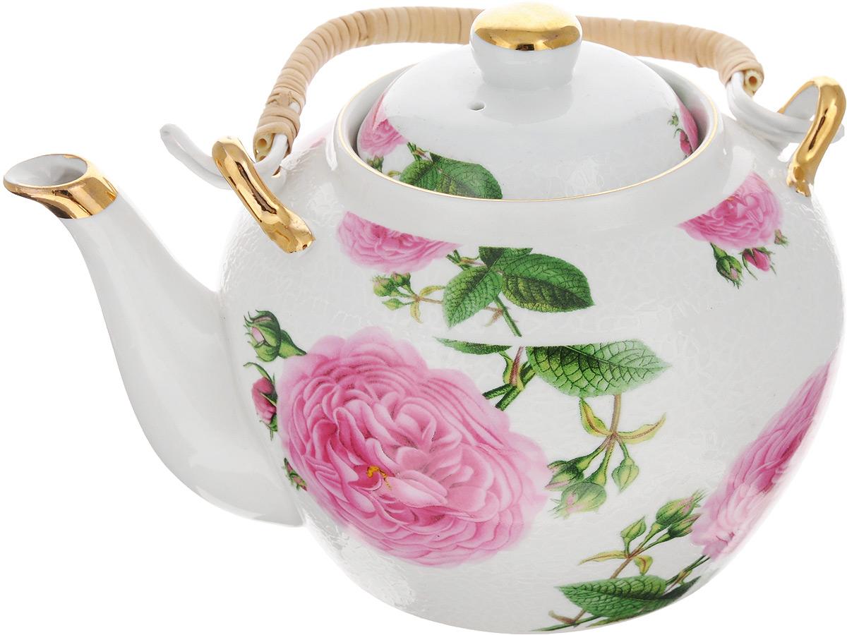 Чайник заварочный Loraine, с фильтром, 1 л. 2113521135Заварочный чайник Loraine изготовлен из высококачественной керамики и дополнен металлическим фильтром. Он имеет изящную форму и декорирован нежным цветочным рисунком. Чайник сочетает в себе стильный дизайн с максимальной функциональностью. Красочность оформления придется по вкусу и ценителям классики, и тем, кто предпочитает утонченность и изысканность. Чайник упакован в подарочную коробку из плотного картона. Внутренняя часть коробки задрапирована атласом, и чайник надежно крепится в определенном положении благодаря особым выемкам в коробке. Высота чайника (без учета ручки и крышки): 11 см. Высота чайника (с учетом ручки и крышки): 19 см. Диаметр (по верхнему краю): 8 см. Диаметр основания: 9,5 см. Высота фильтра: 5 см.