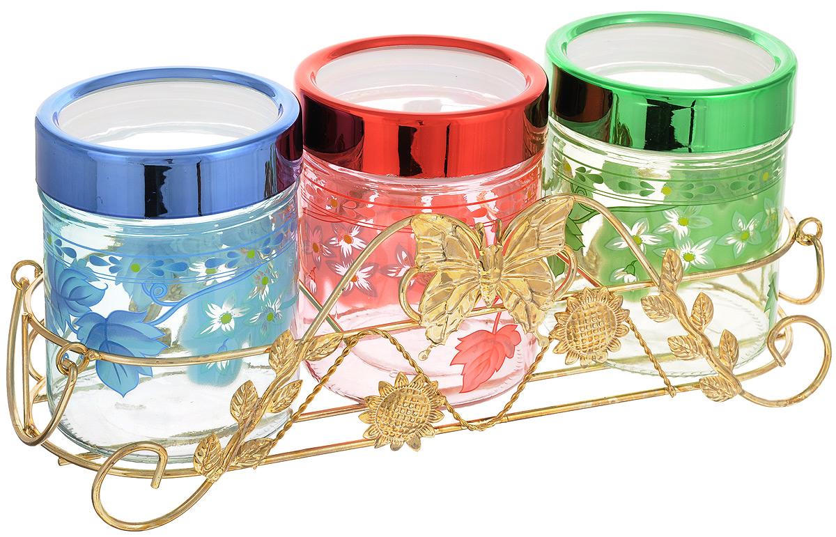 Набор банок для сыпучих продуктов Mayer & Boch, 4 предмета. 38103810Набор  Mayer & Boch состоит из трех банок для сыпучих продуктов, выполненных из прочного стекла и металлической подставки. Изделия имеют цилиндрическую форму и оснащены герметичными крышками из высококачественного пластика. Такие банки прекрасно подходят для хранения сахара, соли, круп, конфет, орехов, печенья и других сыпучих продуктов. Диаметр банки (по верхнему краю): 9 см. Высота банки (с учетом крышки): 12,5 см. Размер подставки: 32,5 х 12,5 х 10 см. Объем банки: 560 мл.