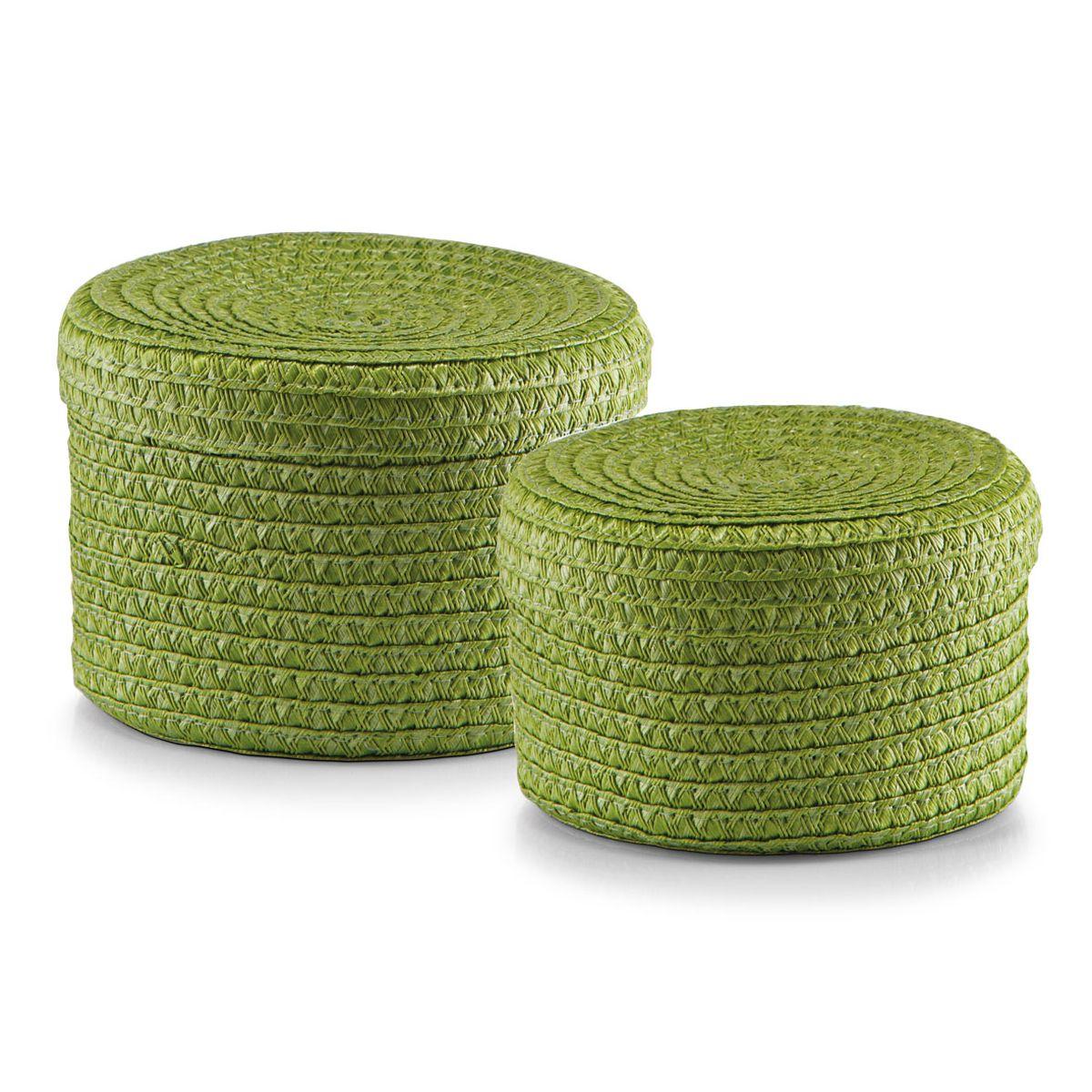 Набор корзин Zeller с крышками, цвет: зеленый, 2 шт14120Набор Zeller состоит из двух корзин разного размера. Корзинки изготовлены из текстиля и оснащены крышками. Изделия идеально подходят для упаковки подарков, цветочных композиций и подарочных наборов, для хранения различных вещей и аксессуаров. Так же они являются прекрасным декоративным элементом интерьера. Такие корзины будут создавать уют и комфорт в вашем доме и станут отличным подарком. Диаметр корзин: 16 см, 17 см. Высота корзин: 10 см, 12 см.
